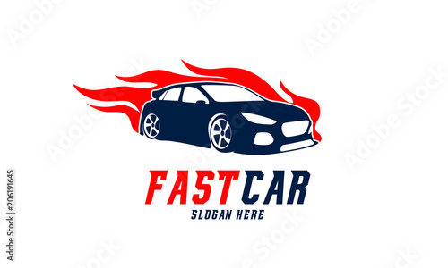 Fast Racing Car Logo Vector With Flame Template