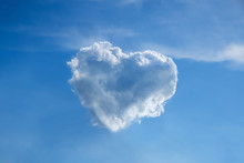 Blue Sky And Heart Shape Cloud Ecology Concept Background Abstract