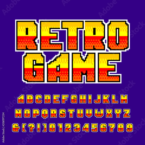 Old Game Alphabet Font. Colorful Pixel Gradient Letters