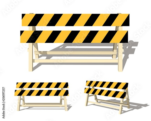 Realistic image of a road barrier with yellow stripes on a white background Canvas Print