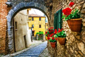 Fototapeta na wymiar Beautiful charming old streets with floral decoration in italian villages. Casperia