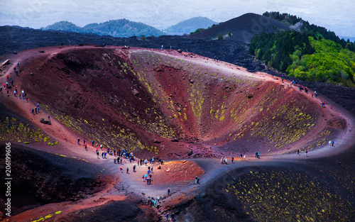 Tuinposter Crimson Etna national park panoramic view of volcanic landscape with crater, Catania, Sicily