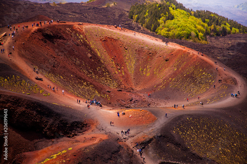 Poster Marron chocolat Etna national park panoramic view of volcanic landscape with crater, Catania, Sicily