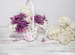 Flowers of lilac.White old background with space for text.Purple color.lilac in a white basket.