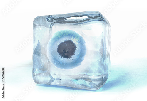 Fotografia  3d illustration of a egg cell frozen into ice cube