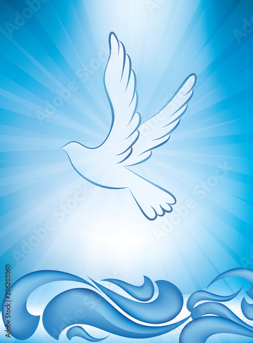 Fotomural Christian baptism invitation - baptism greeting card with dove and waves of wate
