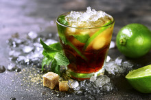 Cold Refreshiing Summer Cocktail Cuba Libre Or Iced Tea With Lime.