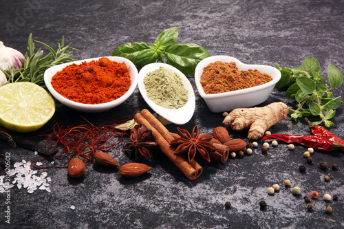 Canvas Prints Spices Spices and herbs on table. Food and cuisine ingredients.