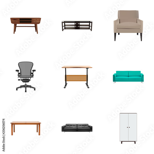 Superb Set Of Design Realistic Symbols With Couch Office Chair Cjindustries Chair Design For Home Cjindustriesco