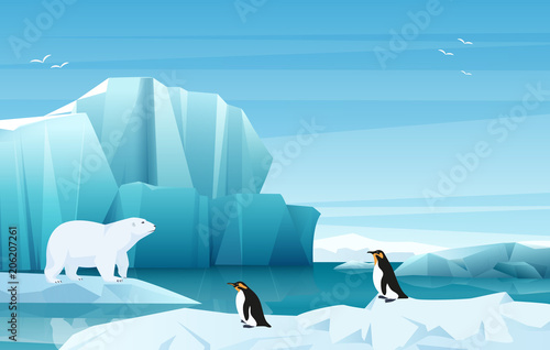 Fotografie, Obraz  Cartoon nature winter arctic landscape with ice mountains