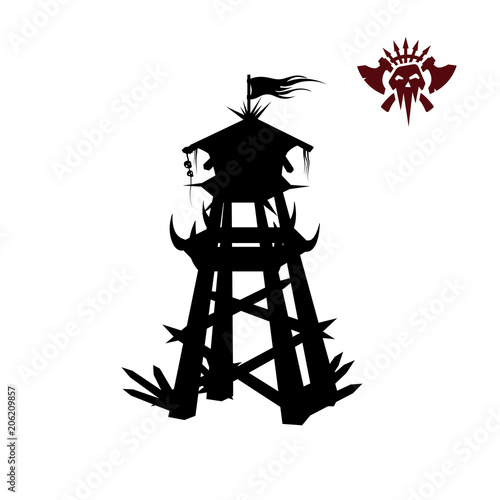 Photo sur Toile Art Studio Black silhouette of orcs tower. Fantasy object. Archer medieval watchtower. Game fortress icon