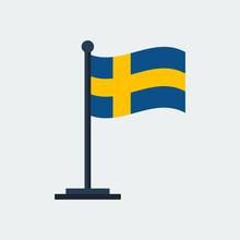 Flag Of Sweden.Flag Stand. Vector Illustration