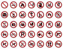 35 Verbots- & Warnschilder (Rot