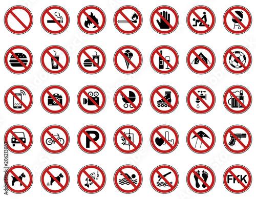 Fotografía  35 Verbots- & Warnschilder (Rot)