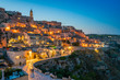 An amazing panorama in Matera at sunset.