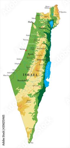 Obraz na plátně  Israel relief map