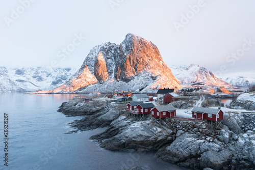 Valokuva  Stunning view of Hamnoy Village with sunrise time one of the most beautiful scen