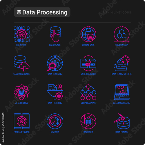 Data processing thin line icons set: data science, filtering, deep