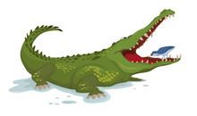 Crocodile And A Bird Vector. C...