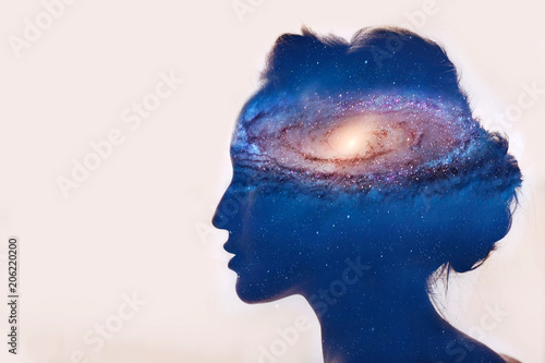 Photo Girl with galaxy in head