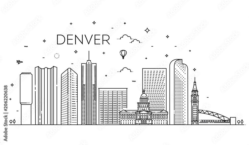 Fototapeta Colorado, Denver. City skyline. Architecture, buildings, landscape, panorama, landmarks, icons
