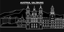 Salzburg Silhouette Skyline. A...