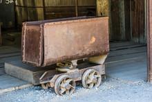 Vintage Rusty Iron Mining Ore Cart