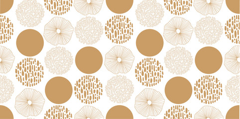FototapetaHand drawn seamless vector pattern. Gold Texture Circles on a white background for printing, fabric, textile, manufacturing, wallpapers.