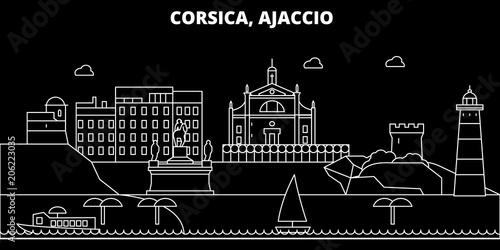 Ajaccio silhouette skyline Canvas Print