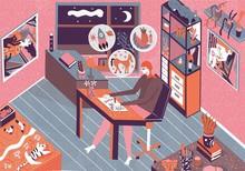 Illustrator Artist Creating In Studio