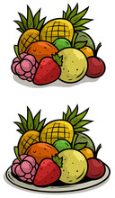 Cartoon Colorful Fruits On Tra...