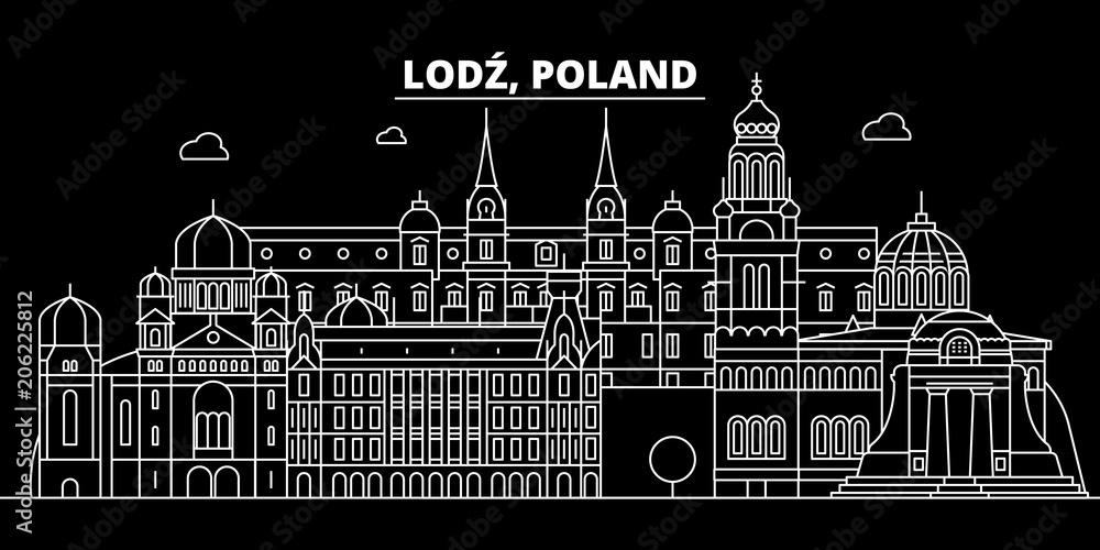 Fototapeta Lodz silhouette skyline. Poland - Lodz vector city, polish linear architecture, buildings. Lodz line travel illustration, landmarks. Poland flat icon, polish outline design banner