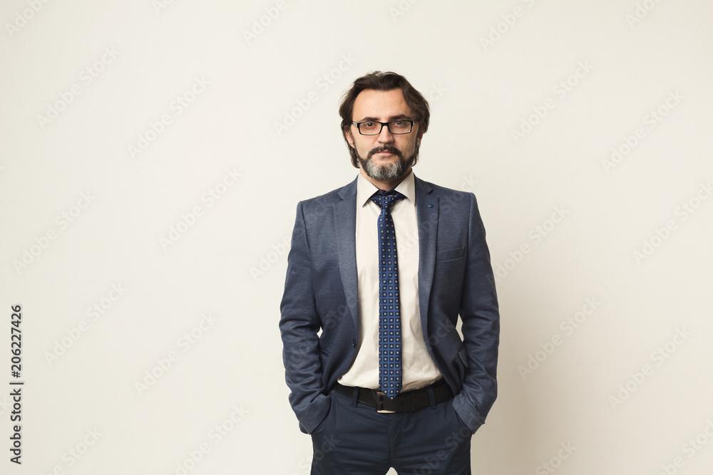 Fototapeta Handsome confident bearded businessman portrait