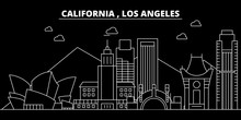 Los Angeles Silhouette Skyline. USA - Los Angeles Vector City, American Linear Architecture, Buildings. Los Angeles Line Travel Illustration, Landmarks. USA Flat Icons, American Outline Design Banner