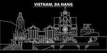 Da Nang Silhouette Skyline. Vietnam - Da Nang Vector City, Vietnamese Linear Architecture, Buildings. Da Nang Line Travel Illustration, Landmarks. Vietnam Flat Icons, Vietnamese Outline Design Banner