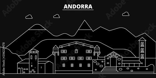 Andorra silhouette skyline Wallpaper Mural
