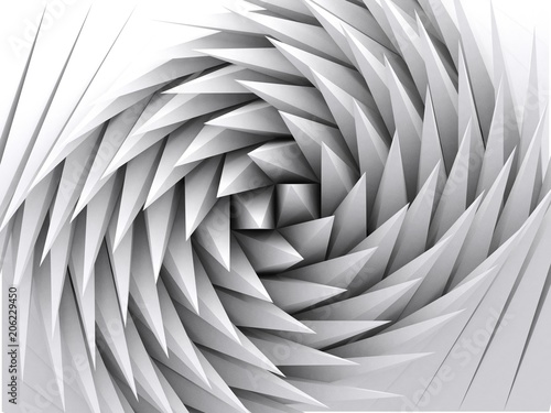 Fotografering Abstract geometric background, white 3d art