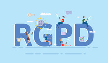 People Using Mobile Gadgets And Internet Devices Among Big RGPD Letters. GDPR, RGPD, DSGVO. Concept Vector Illustration. Flat Style. Horizontal.