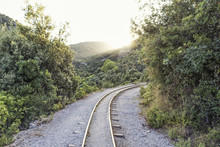 Greece, Pilion, Milies, Rails Of Narrow Gauge Railway