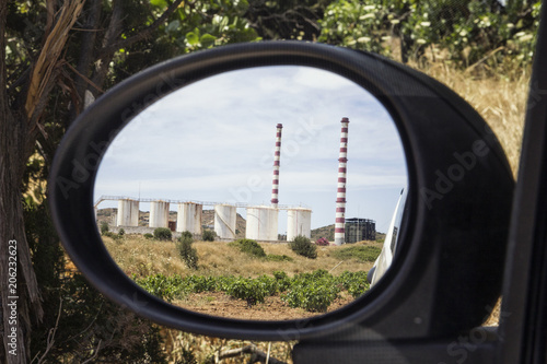 Greece, Laurion, gas power station mirrored in wing mirror