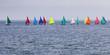 Switzerland, Thurgau, Arbon, Lake Constance, regatta, panoramic view of colorful sailing boats