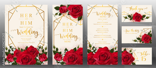 Fototapeta  Wedding Invitation card templates with realistic of beautiful  flower on background color.  obraz
