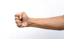 Male Clenched Fist With Blood Veins Represents The Strength Isolated On White Background With Clipping Path.