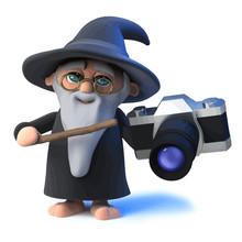 Vector 3d Funny Cartoon Wizard Magician Points His Wand At A Camera
