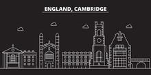 Cambridge Silhouette Skyline. Great Britain - Cambridge Vector City, British Linear Architecture, Buildings. Cambridge Line Travel Illustration, Landmarks. Great Britain Flat Iconbritish Outline