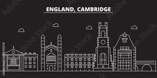 Cambridge silhouette skyline Fotobehang