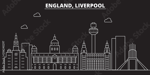 Liverpool silhouette skyline. Great Britain - Liverpool vector city, british linear architecture, buildings. Liverpool travel illustration, outline landmarks. Great Britain flat iconbritish line