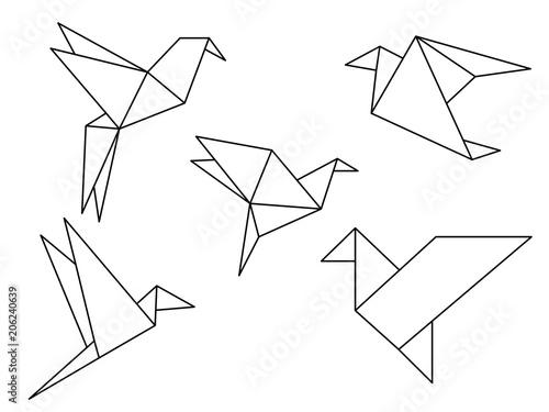 Fototapeta premium Wektor kolekcji ptaków origami