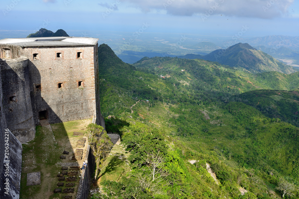 Fototapeta Mountain range over Haiti and remains of the French Citadelle la ferriere built on the top of a mountain, Haiti UNESCO.
