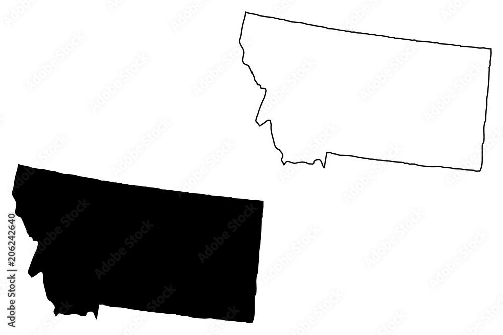 Fototapety, obrazy: Montana map vector illustration, scribble sketch Montana map